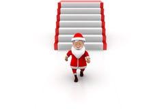 3d man santa stairs concept Stock Photo