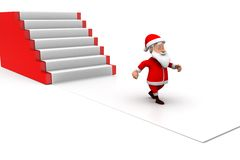 3d man santa stairs concept Royalty Free Stock Images