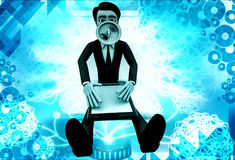 3d man with scanner and speaker in mouth illustration Royalty Free Stock Images