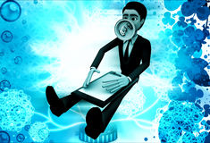3d man with scanner and speaker in mouth illustration Royalty Free Stock Photos