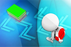 3d man school bag and books near by illustration Stock Photo