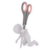 3D man with scissors Stock Photos