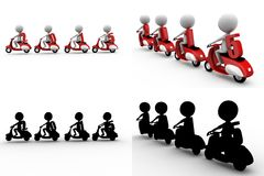 3d man 2015 on scooter concept collections with alpha and shadow channel Royalty Free Stock Photos