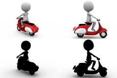 3d man scooter concept collections with alpha and shadow channel Stock Images