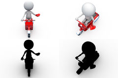 3d man scooter concept collections with alpha and shadow channel Stock Image