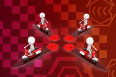 3d man scooter different directions illustration Royalty Free Stock Photos