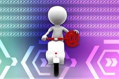 3d Man scooter illustration Stock Image