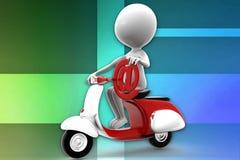 3d Man scooter illustration Stock Photo