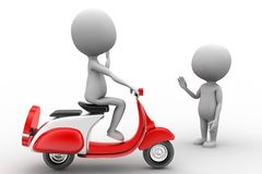 3d man scooter and man Stock Images