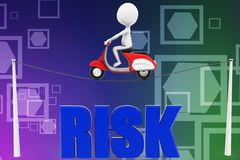 3d Man scooter risk illustration Royalty Free Stock Photo
