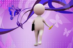 3d man with screw driver illustration Stock Images