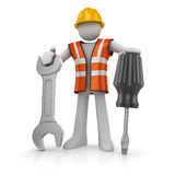 3d man with a screwdriver and a wrench Stock Photography