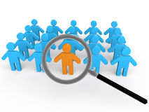 3d man search in the crowd. 3d render of men with one unique one under focus of a magnifying glass Royalty Free Stock Images