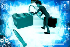 3d man search file from many files illustration Stock Photos