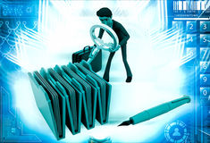3d man search file from many files illustration Stock Photo