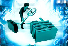 3d man search file from many files illustration Royalty Free Stock Photography