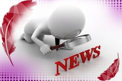 3d man search news illustration Royalty Free Stock Image