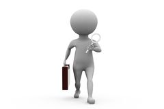 3d man search with suitcase concept Royalty Free Stock Photo