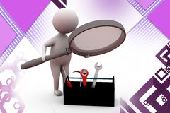 3d man search tool illustration Royalty Free Stock Photography