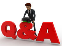 3d man searching answer in book on Queastion and answer text concept Royalty Free Stock Images