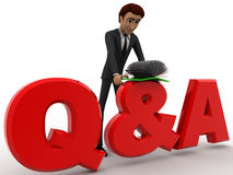 3d man searching answer in book on Queastion and answer text concept Royalty Free Stock Photo