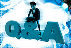 3d man searching answer in book on Queastion and answer text illustration Stock Photography