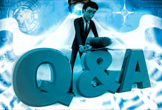 3d man searching answer in book on Queastion and answer text illustration Stock Image