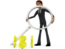 3d man searching dollar concept Royalty Free Stock Photos