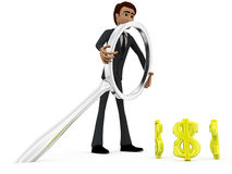 3d man searching dollar concept Stock Photo