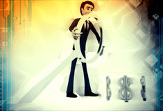 3d man searching dollar illustration Royalty Free Stock Image