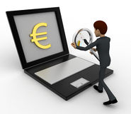 3d man searching for euro price online on laptop concept Royalty Free Stock Photo