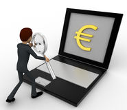 3d man searching for euro price online on laptop concept Royalty Free Stock Photos