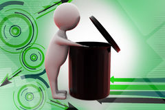 3d man searching in garbage  illustration Stock Image