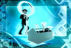 3d man searching right tool from toolbox concept Stock Photo