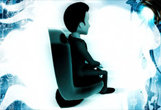 3d man seating on brown chair illustration Royalty Free Stock Photography