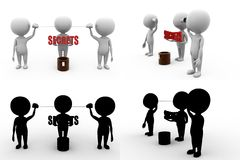 3d man secrets well concept collections with alpha and shadow channel Royalty Free Stock Photo