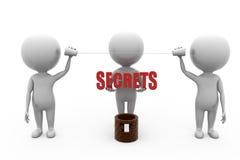 3d man secrets well concept Stock Photos