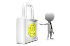 3d  man secure mail concept Royalty Free Stock Images