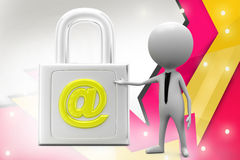 3d  man secure mail illustration Royalty Free Stock Images