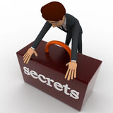 3d man securing secret box concept Royalty Free Stock Photo