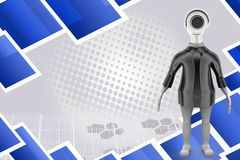 3d man security camera illustration Stock Photography