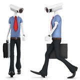 3d man security camera surveillance Stock Photos