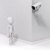 3d man and security camera Stock Photos