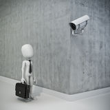 3d man and security camera Royalty Free Stock Image