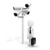 3d man and security camera Royalty Free Stock Photos