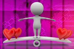 3d Man see saw with hearts illustration Royalty Free Stock Photography