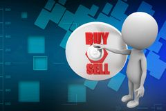 3D Man With Sell Buy Illustration Royalty Free Stock Photography