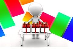3d Man Selling Apple illustration Stock Photography