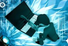 3d man send mail through laptop illustration Royalty Free Stock Photos