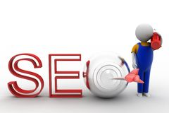 3d man with seo target  illustration Stock Images